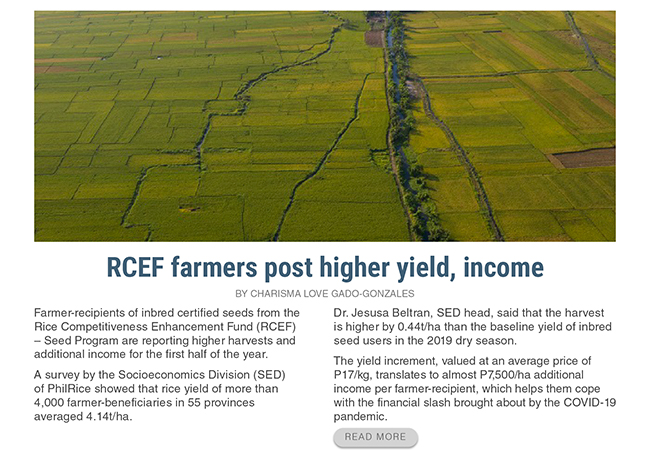 rcef-farmers-post-higher-yield-income-rice-philrice-agriculture-charisma-love-gado-gonzales/