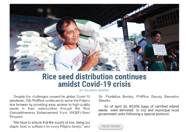Rice seed distribution continues amidst COVID-19 crisis