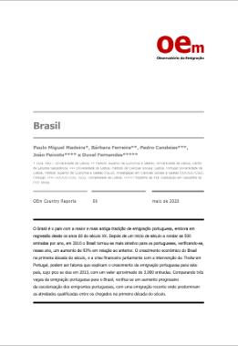 Relatório Observatório da Emigração (2020), de de autoria de Pedro Miguel Madeira, Bárbara Ferreira, Pedro Candeias,João Peixotoe Duval Fernandes