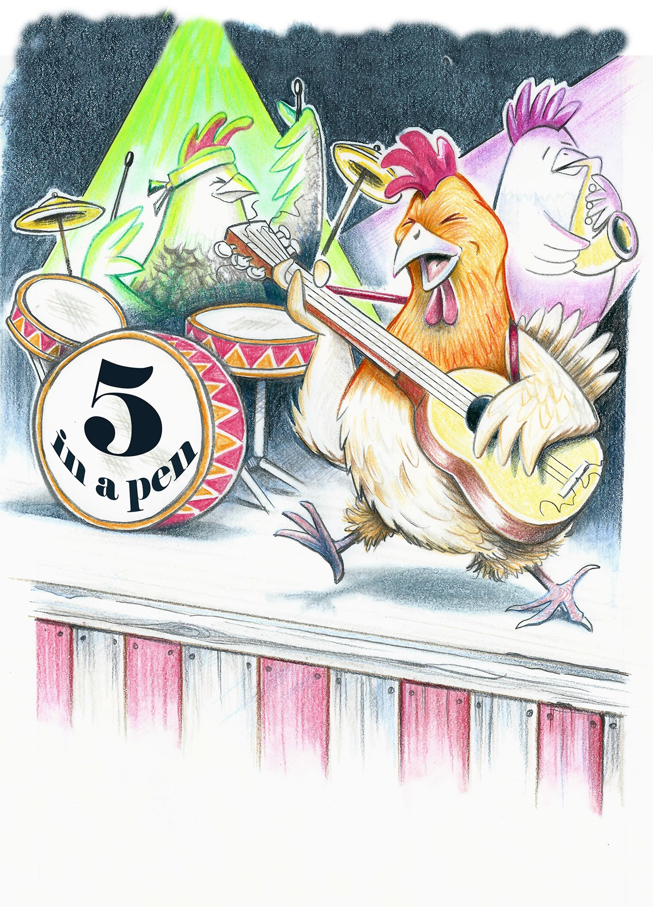 Delightful picture of the band of mother hens called Five in a Pen, from The Tales of Mr Mouse and Friends written by Jacqueline Mead, Illustrated by David Smith