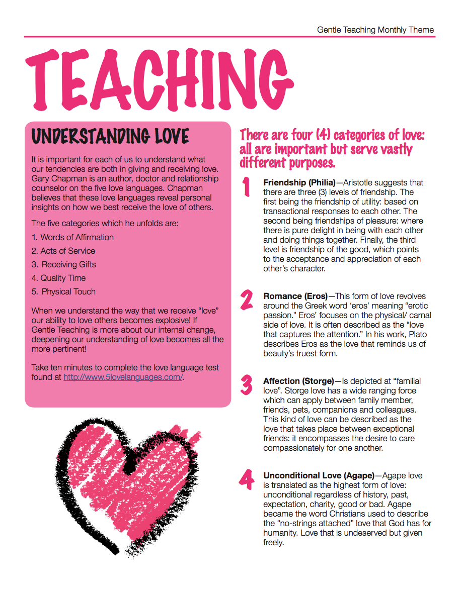 Gentle Teaching Monthly Theme: March
