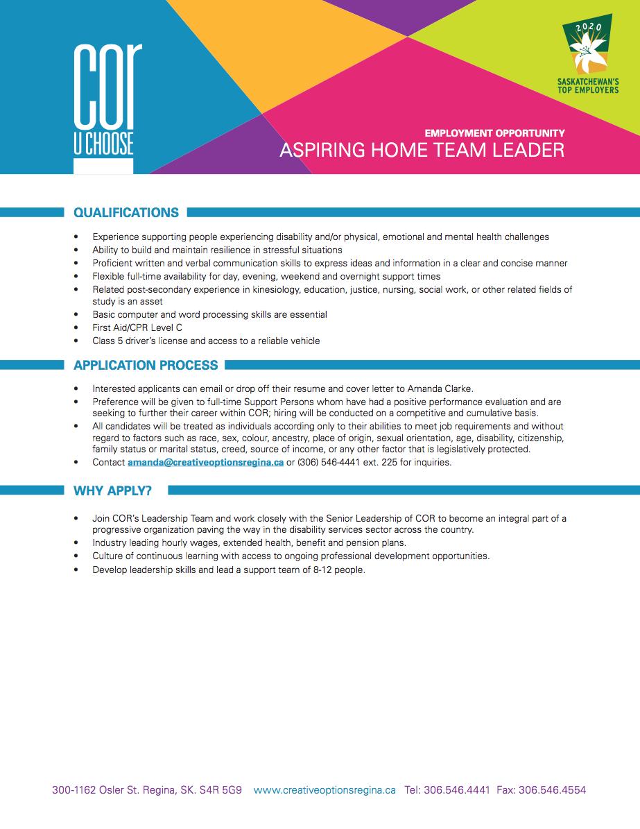 Aspiring Home Team Leader