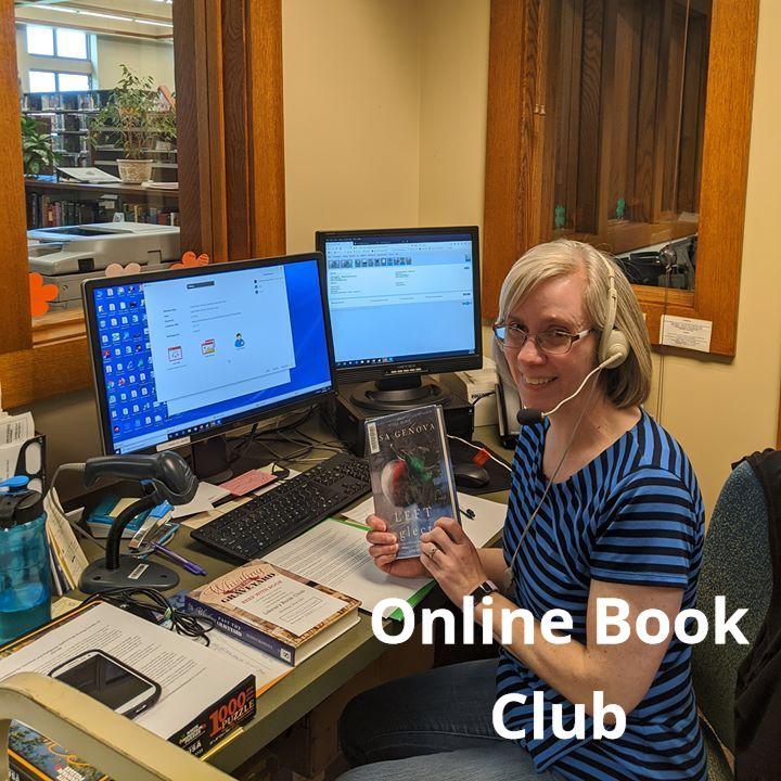 Karen hosting an onloine book club via ZOOM