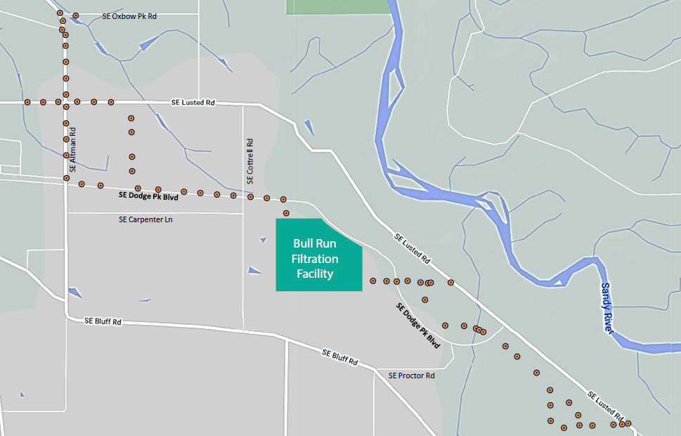 graphic of map with dots showing approximate drilling locations to and from the filtration facility