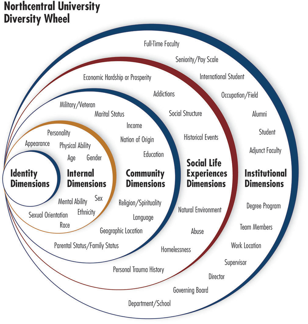 A diversity wheel showing internal, community, social, and insitutional dimensions of diversity