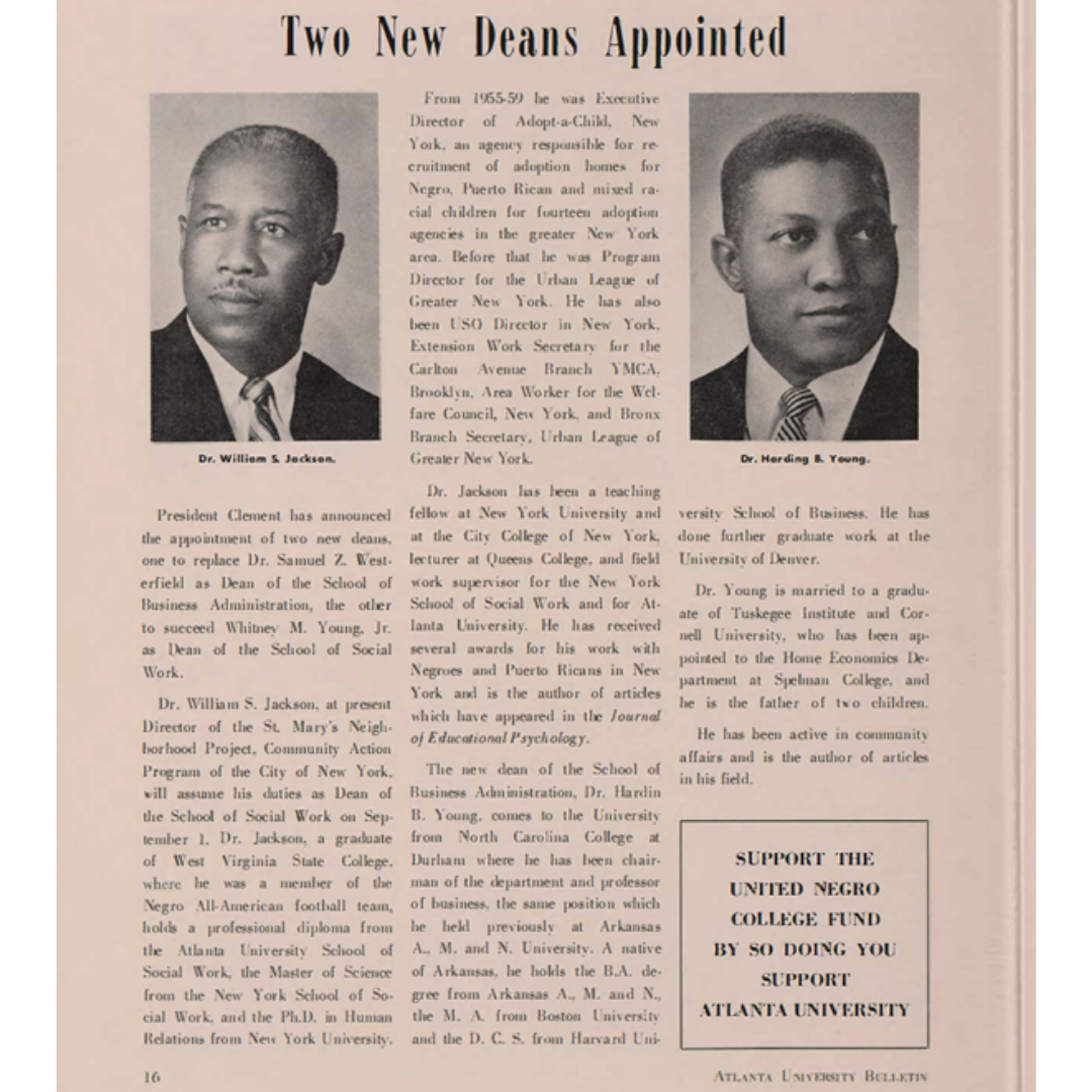 Atlanta University Bulletin 1961- Two New Deans Appointed