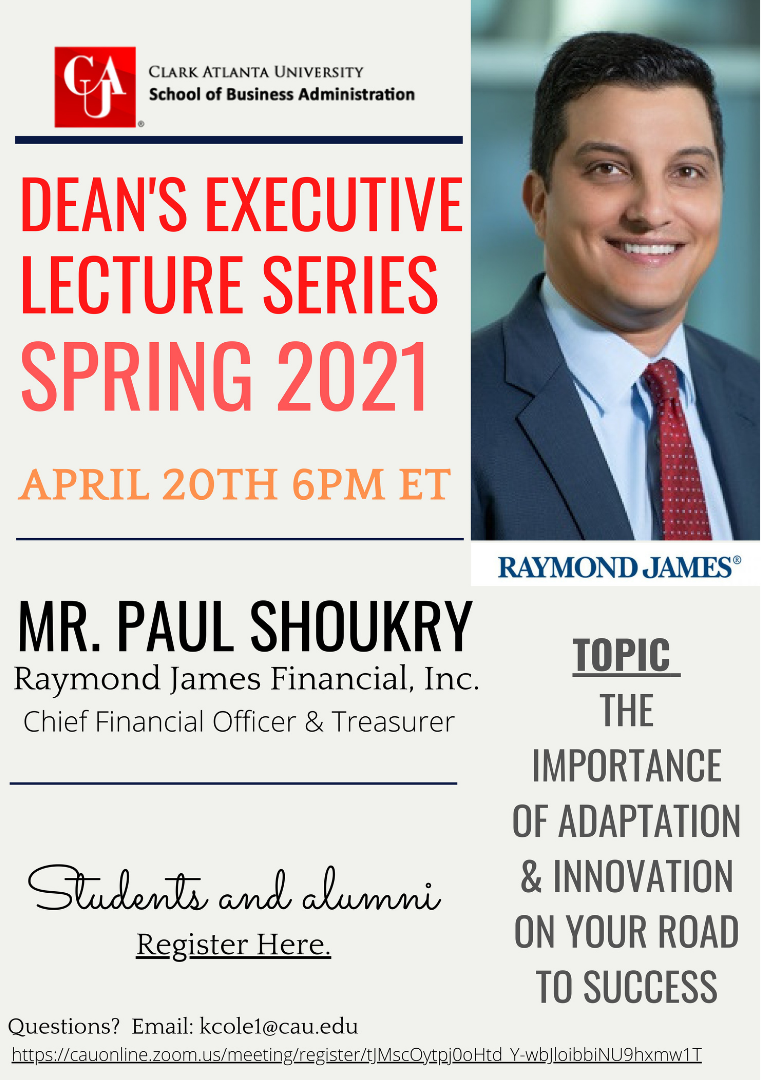 April 20th Dean's Executive Lecture Series with Paul Shoukry