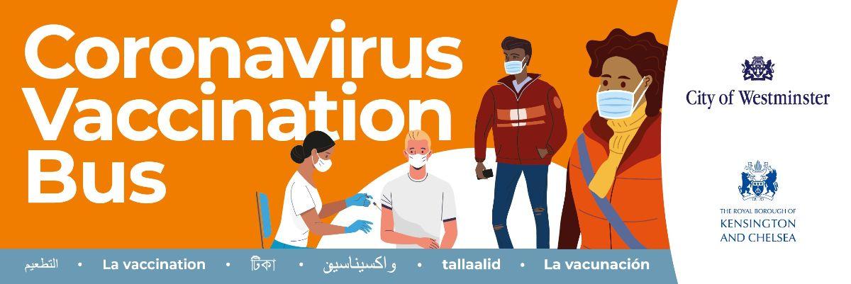 Coronavirus Vaccination Bus banner