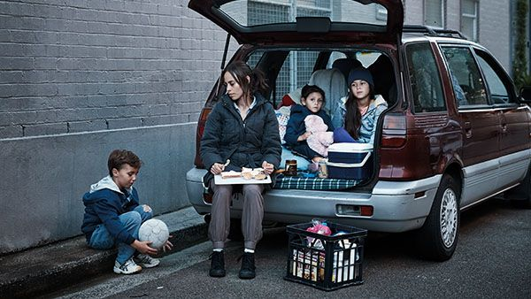 Mother and children living in a car