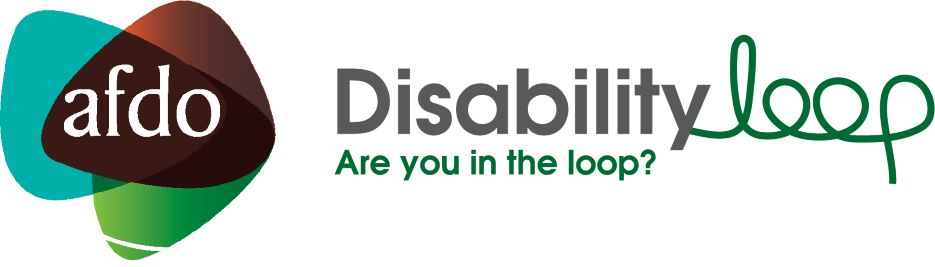 "AFDO Disability Loop logo with text ""Are you in the loop?"