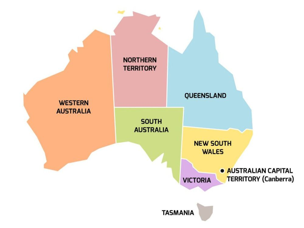 Map of Australia showing each state and territory.