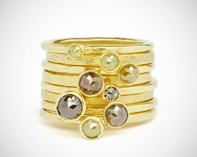 18ct yellow gold stacking rings set with yellow and brown rose cut diamonds