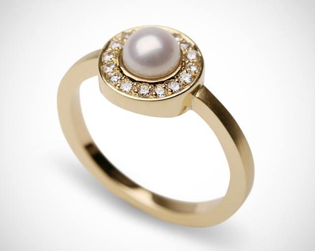 Bespoke 18ct yellow gold, pearl and diamond 60th birthday ring. Designed and made by Amanda Mansell