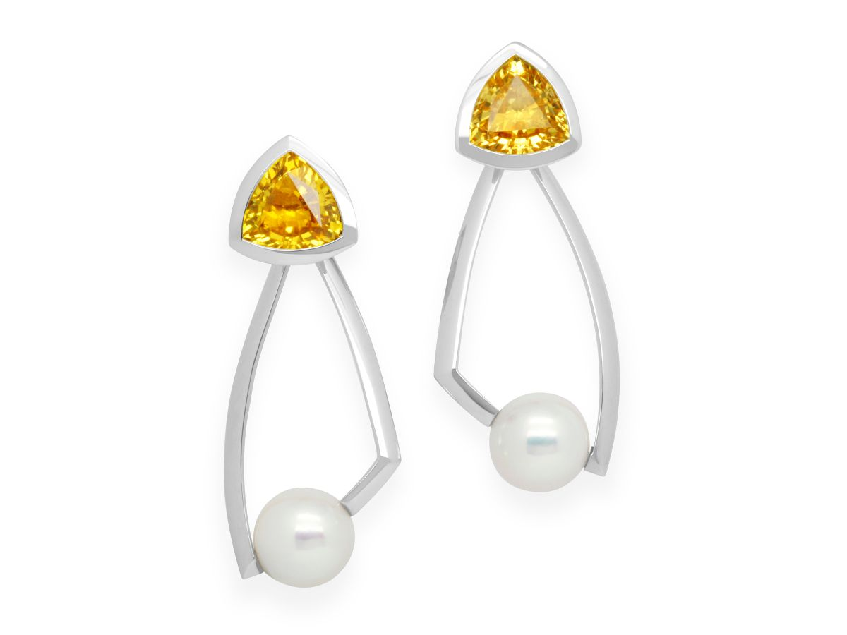 Bespoke 18ct white gold, pearl and natural yellow trillion sapphires. Designed and made by Amanda Mansell