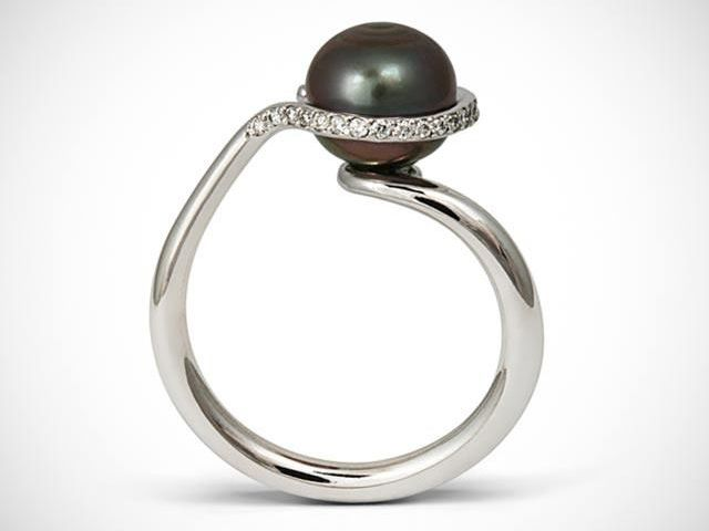 Bespoke 18ct white gold, pearl and diamond engagement ring,. Designed and made by Amanda Mansell