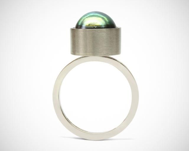Bespoke 18ct white gold, pearl engagement ring. Designed and made by Amanda Mansell