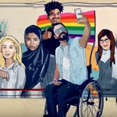 Titelgrafik des ufuq.de-Filmmoduls 4 LGBT... What?!?; Illustration: Kays Khalil
