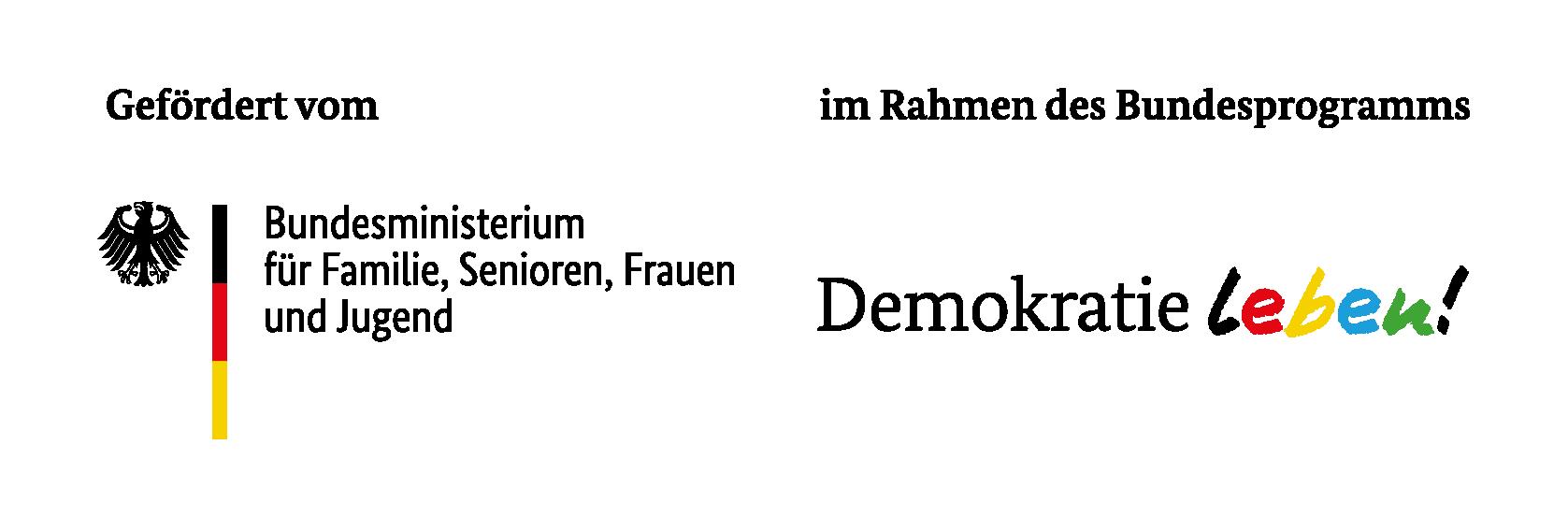 Logo des Bundesministeriums für Familie, Senioren, Frauen und Jugend; sowie des Bundeprogramms Demokratie leben!