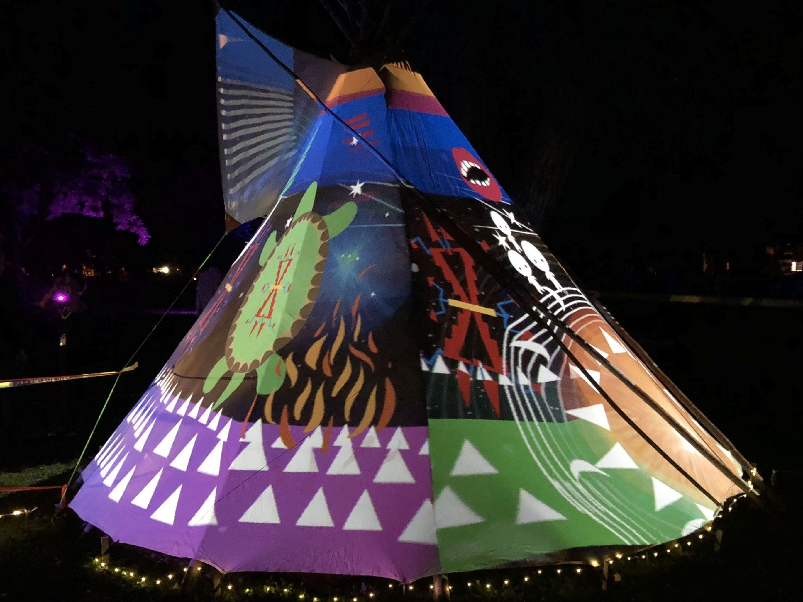 Image of Tipi with projection art