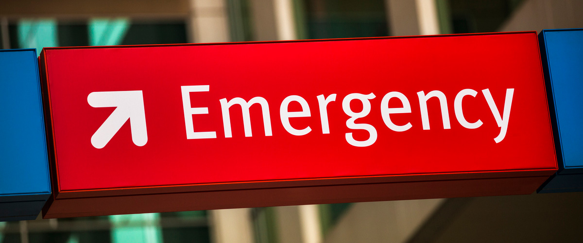 Photo of an emergency room sign