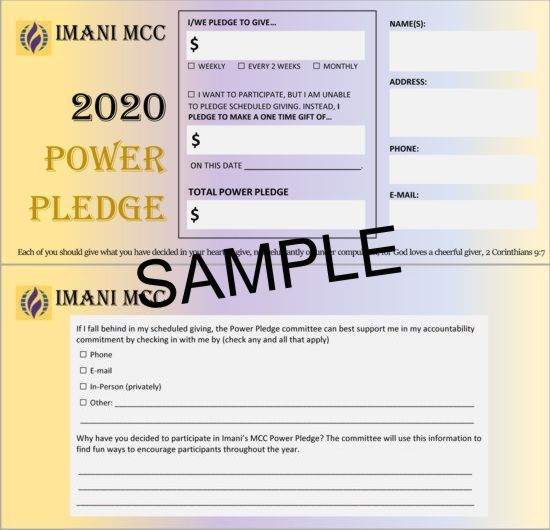 2020 Imani MCC Power Pledge Card
