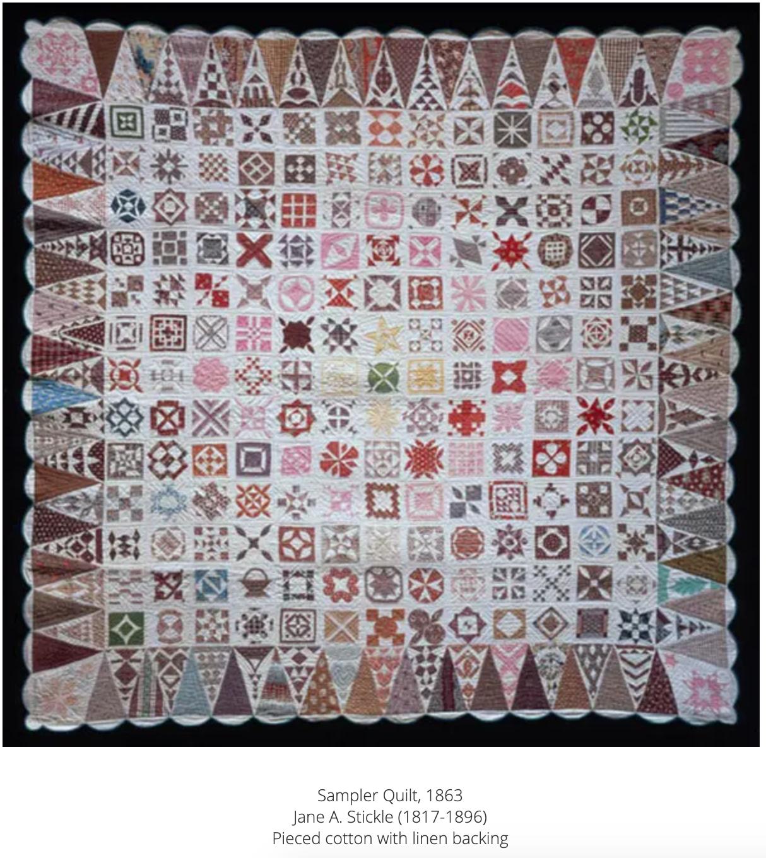 Original Jane Stickle Sampler Quilt - 1863