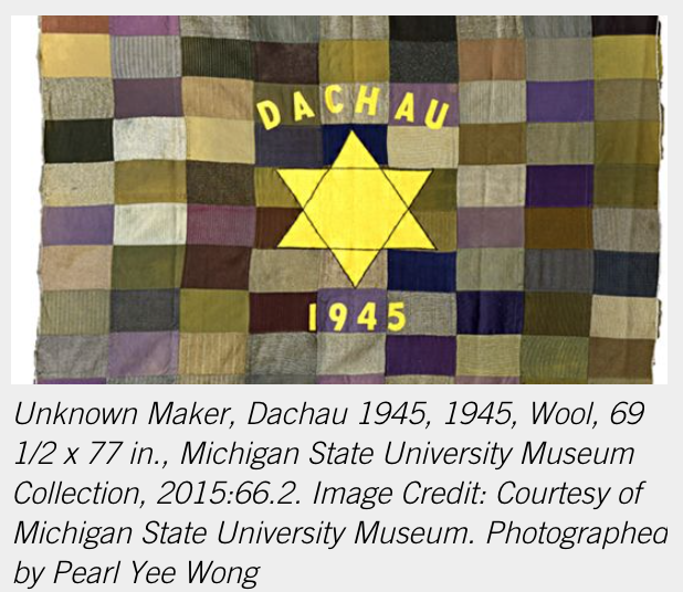 """Quilt from 1945 with a Star of David, """"Dachau"""", and 1945 in yellow"""
