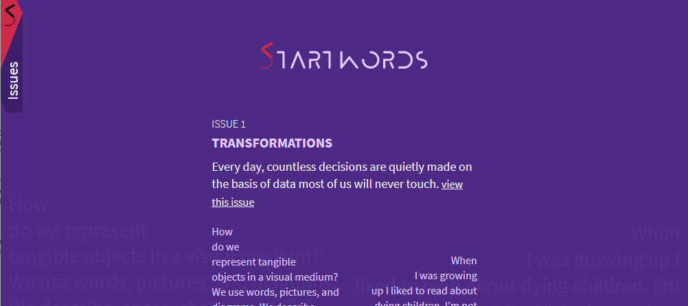 Screenshot of the front page of Startwords.