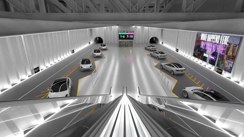 Illustration of underground transit hub with automated cars.