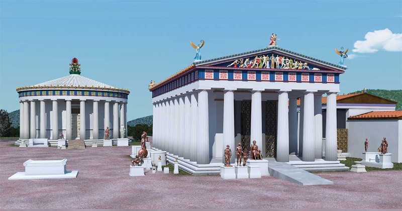Illustration of Ancient Greek temples with ramps.