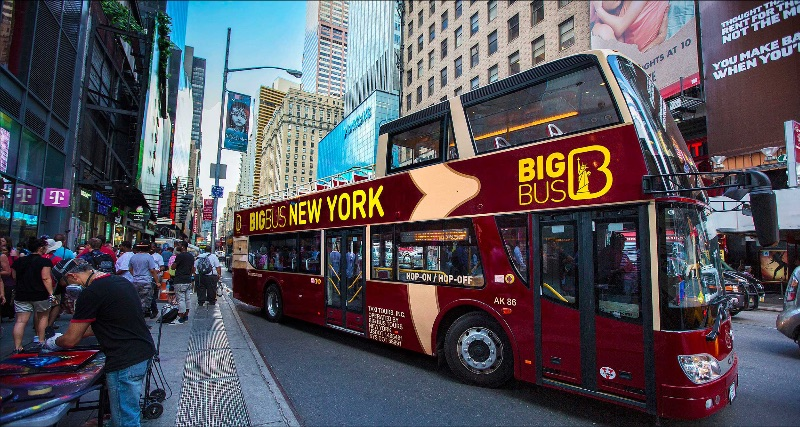 Double decker tour bus in New York City.