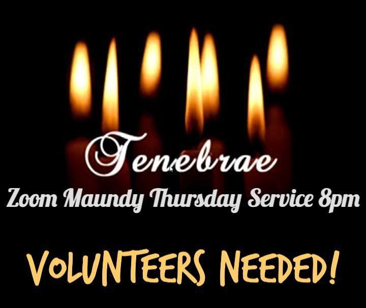 Zoom Tenebrae Service Thursday 1st April 8pm