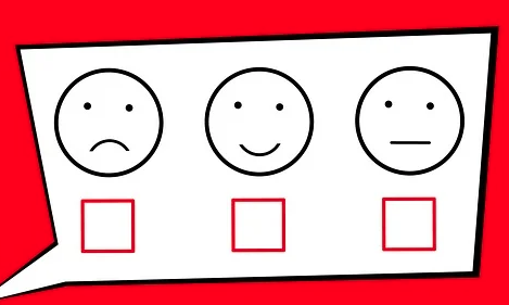 Ballot with smiley faces indicating levels of satisfaction