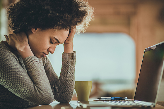 Woman suffering Zoom fatigue