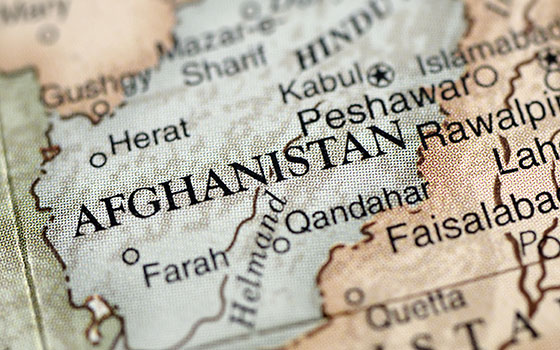 map of Afghanistan from a globe