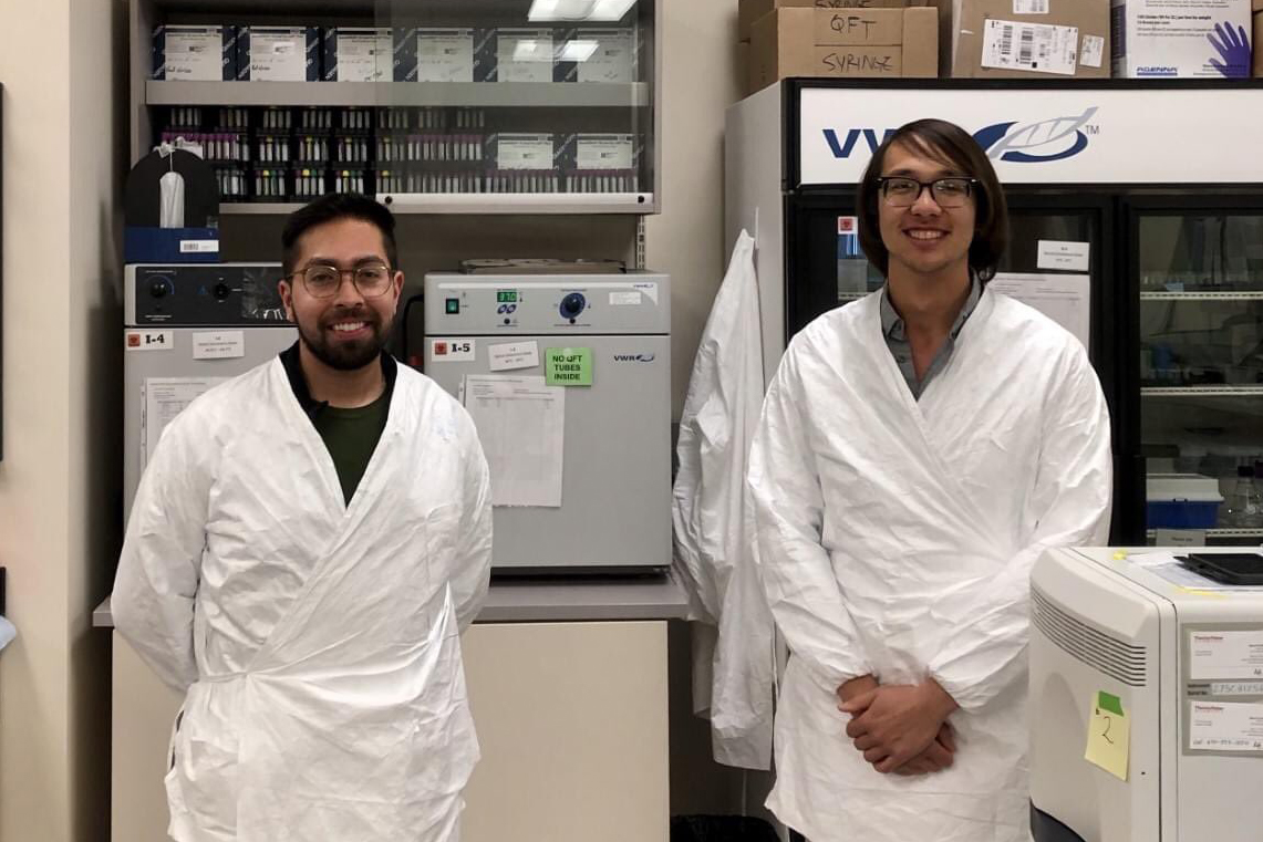 Stanford PhD students Jose Miguel Andrade Lopez, left, and Paul Bump