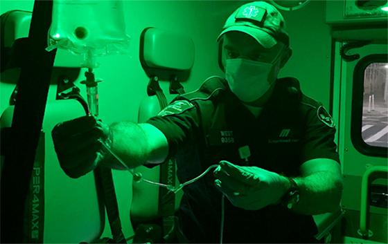 Zach West in ambulance