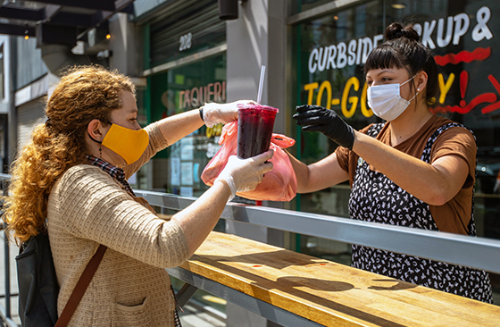 Business conducted in masks