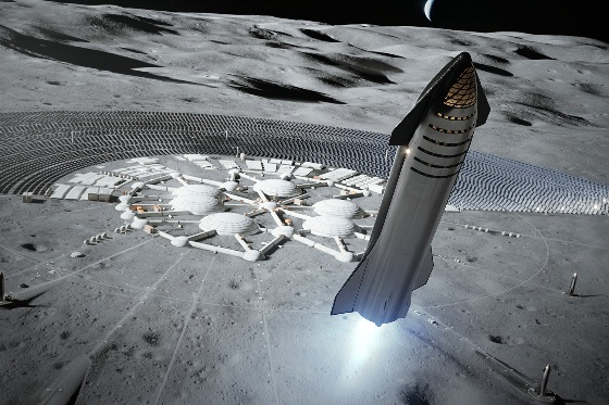 Space craft lifting off from planet