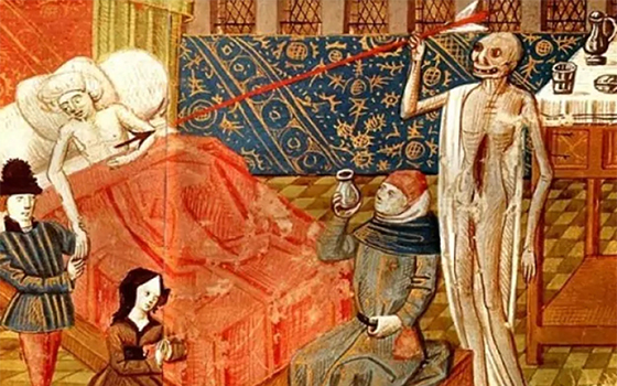 Medieval illustration of the plague