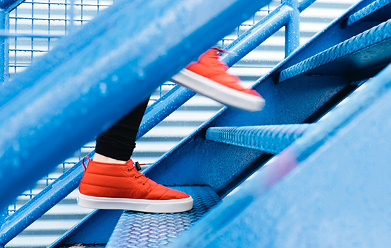 Sneakers on steps
