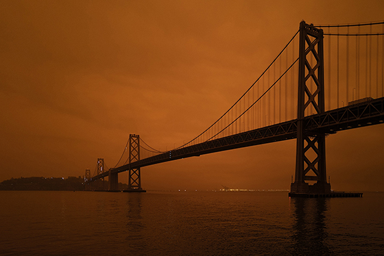 Wildfire smoke covering the Bay Area