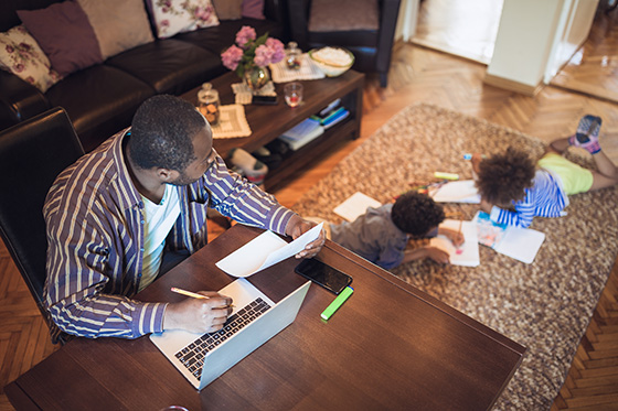 Father working at home