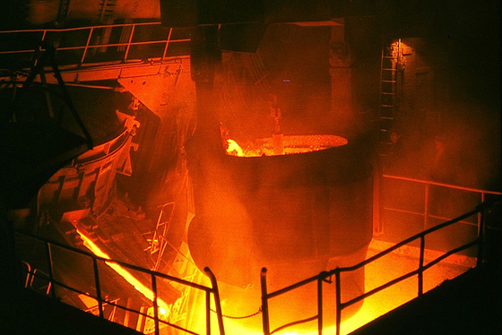 Steel being smelted