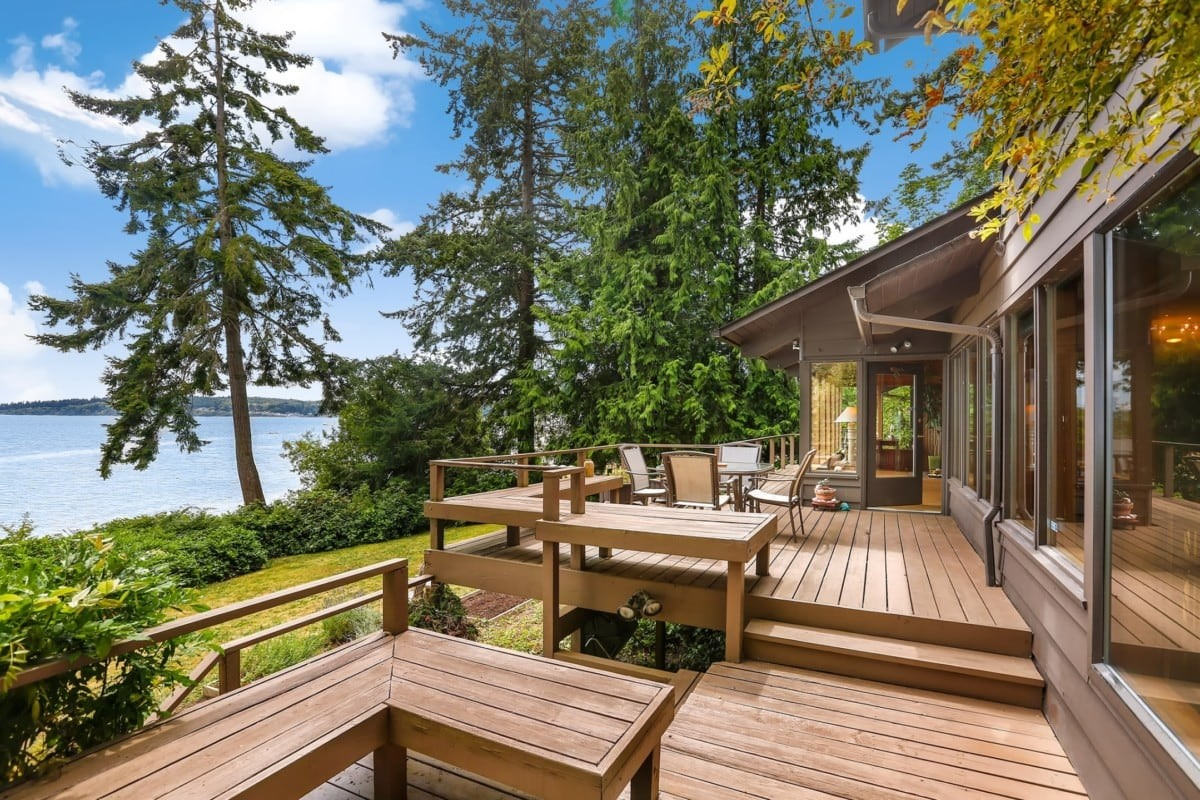 Wood deck overlooking a lake