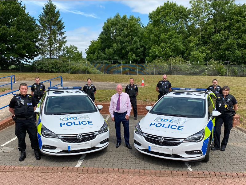 Warwickshire Police and Crime Commissioner Philip Seccombe with members of the new Vehicle Crime Team at Greys Mallory