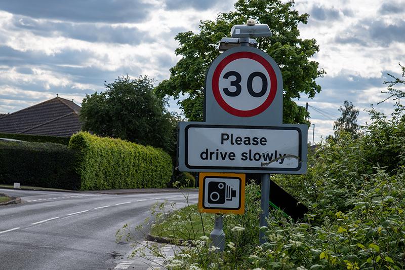 Close up of a 30mph road sign