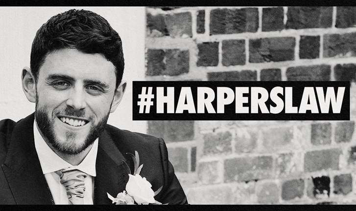 Image of PC Andrew Harper with #Harperslaw hashtag