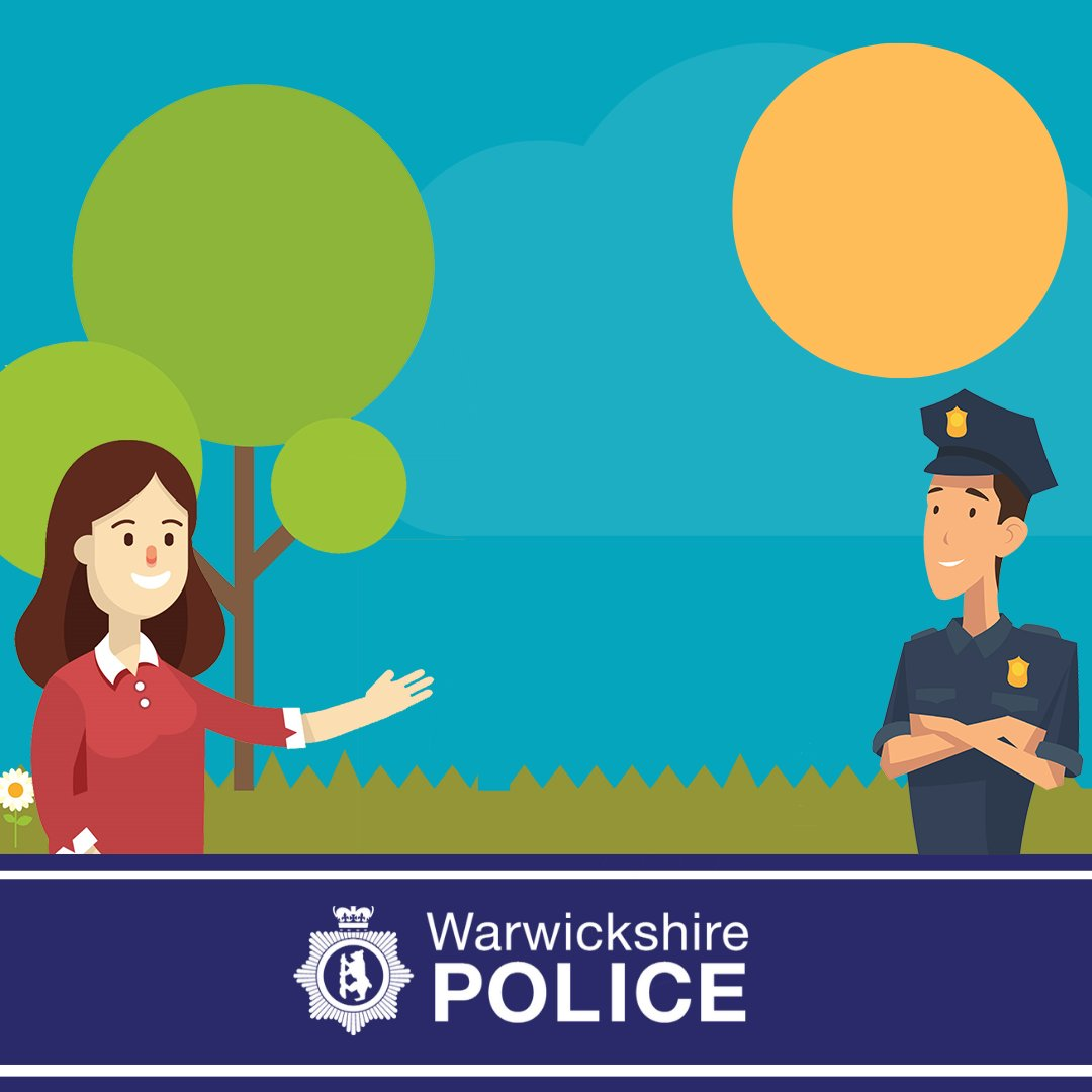 Graphic showing a smiling woman talking to a friendly police officer at a distance