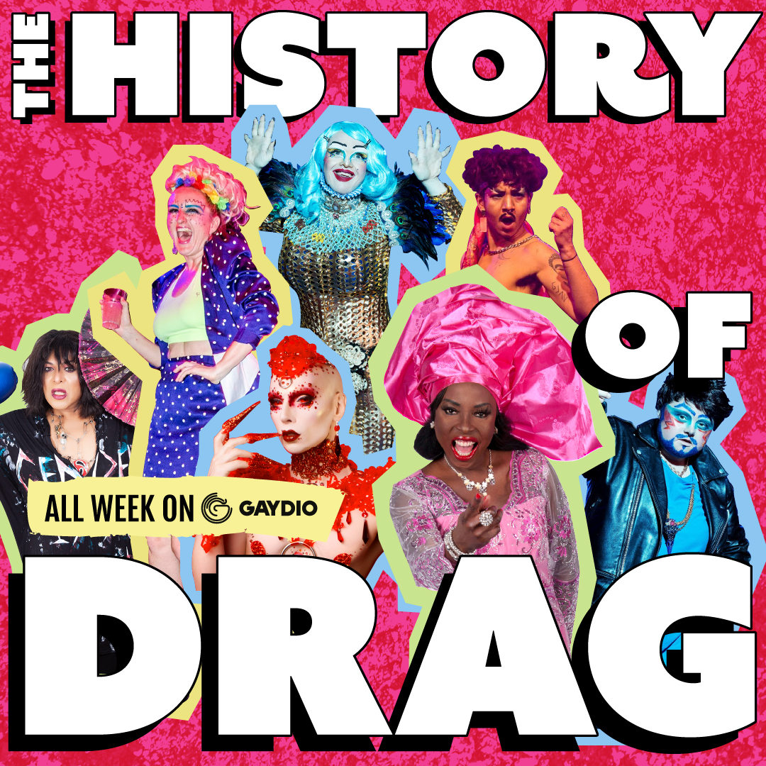 Promo image for the history of drag featuring a collection of drag kings and drag queens. The image has a pink background.